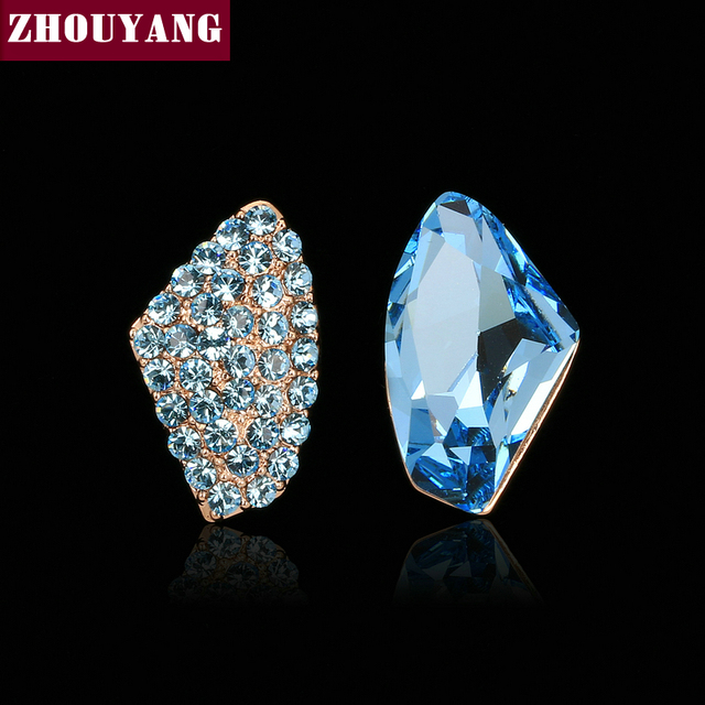Top Quality Blud Crystal Earrings Rose Gold Color Fashion Jewelry
