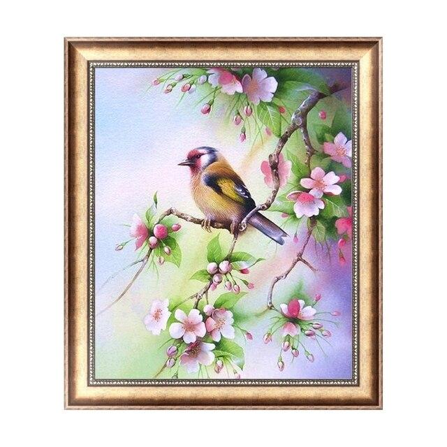 Nice Design Diy 5d Diamond Embroidery Painting Flower And Birds