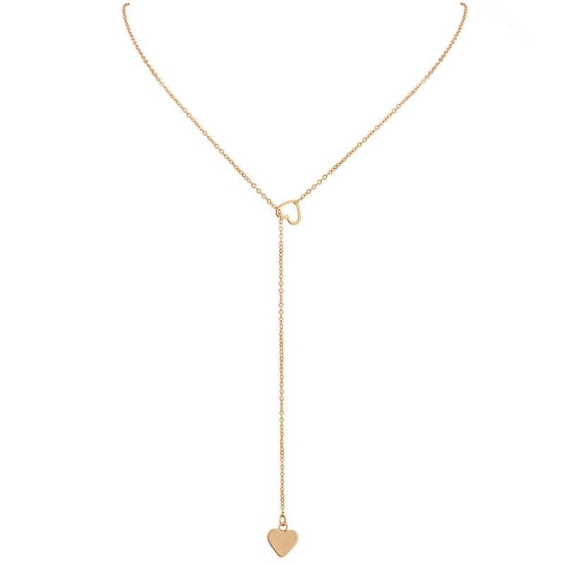 Neue Mode Halskette Anhänger Halskette Pfirsich Herz Liebe frauen Mode Und Persönlichkeit Y-halskette Mit Einfache Verkauf Großhandel