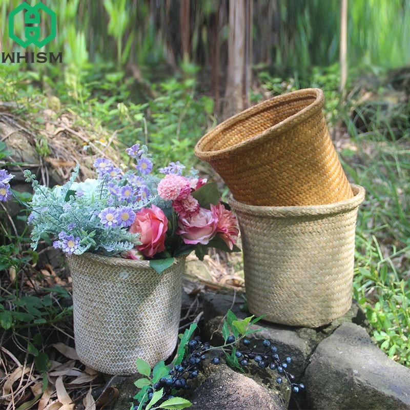 Whism ручной тканый цветочный корзины соломы корзина для хранения водорослей хранения Коробки ротанга Метизы контейнер плетеная сад сеялки
