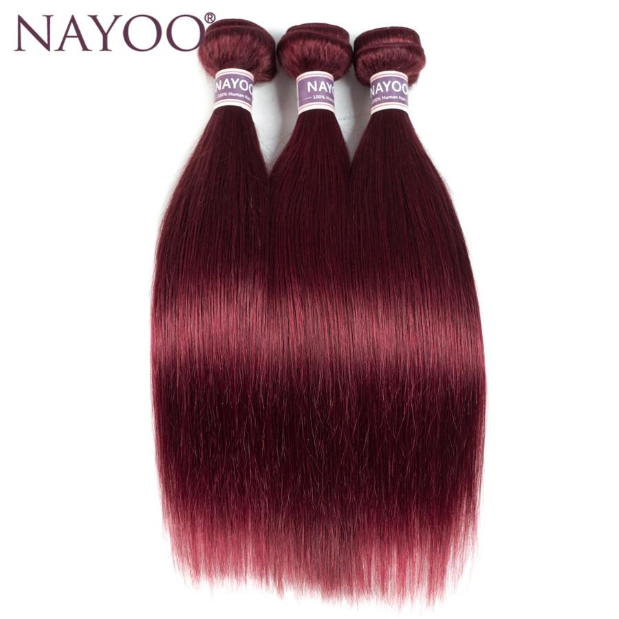 NAYOO Brazilian Straight Hair Bundles Burgundy 99J Red Human Hair Weave Extensions 3Pcs/lot Non Remy Hair Weaving No Shedding