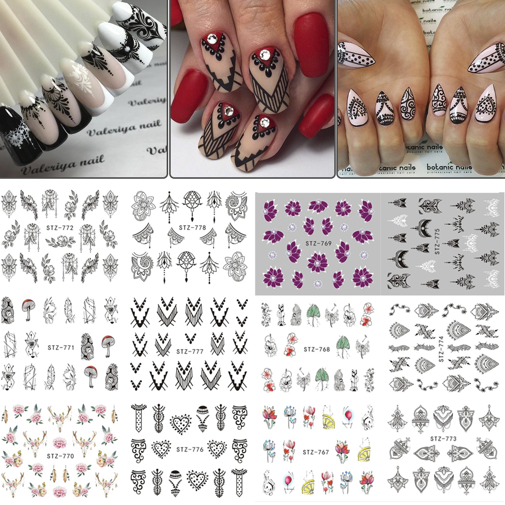 13pcs/lot Nail Stickers Black Jewelry Nail Decals Flowers Water Transfer Wrap For Nail Art Manicure Accessories TRSTZ766 778 1-in Stickers & Decals from Beauty & Health