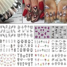 13pcs/lot Nail Stickers Black Jewelry Nail Decals Flowers Water Transfer Wrap For Nail Art Manicure Accessories TRSTZ766 778 1