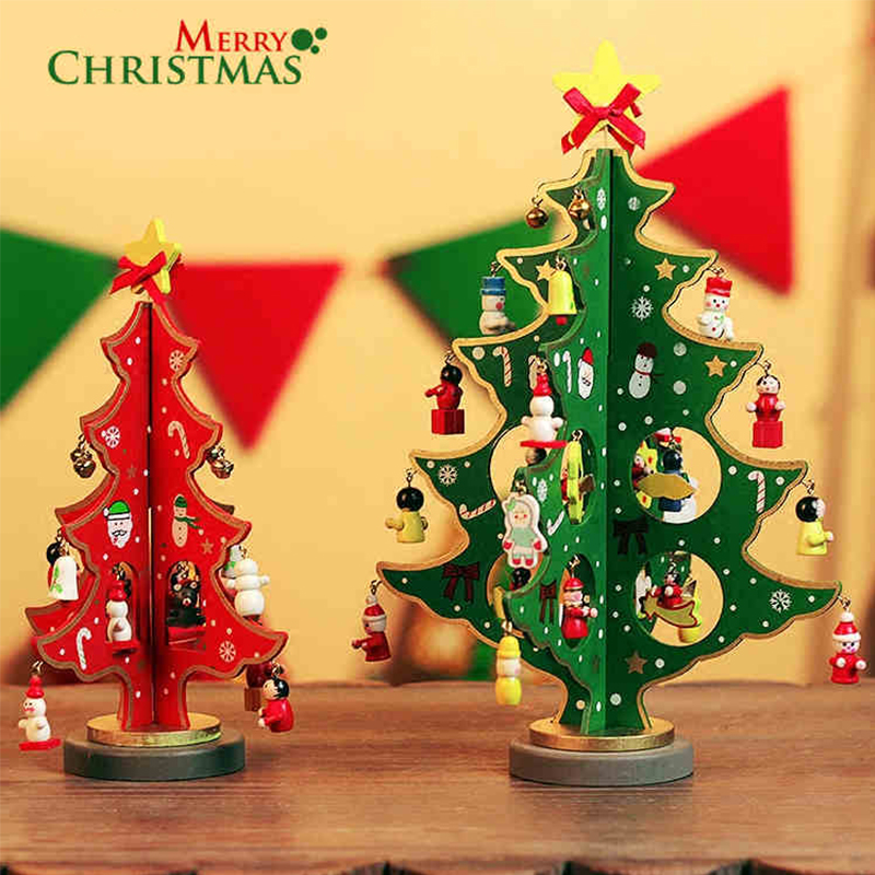 1 Pcs Anime Wooden Diy Christmas Tree Model Toys For