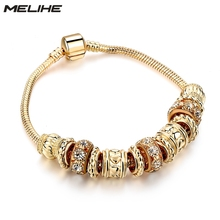 Luxury Crystal Charms Bracelet Women Fashion Gold Beads Diy Bracelets Bangles Friendship Jewelry SBR160240 gold letter bracelet women charm friendship bracelets luxury jewelry adjustable best friend personalized wholesale