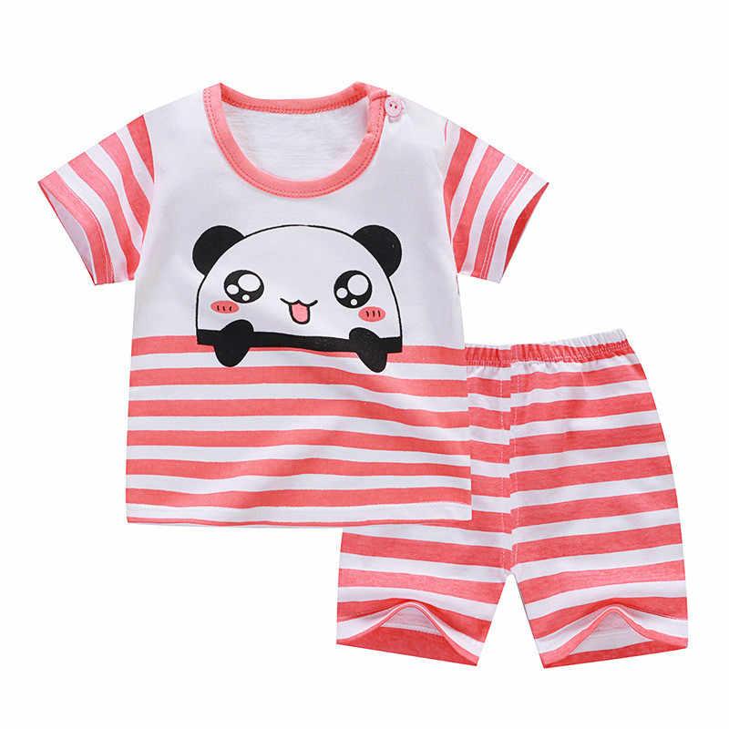 2019 Gadis Anak Set Musim Panas Lengan Pendek Anak Laki-laki Pakaian Set Katun Gadis Pakaian Dua Potong Tubuh Sesuai dengan Kualitas anak-anak Pakaian Set