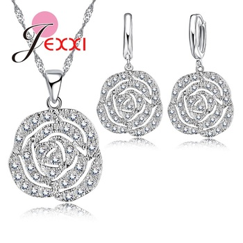 Fashion 925 Sterling Silver Crystal Jewelry Sets Luxury Vintage Party Rose Flower CZ Necklace&Earrings Fine Jewelry