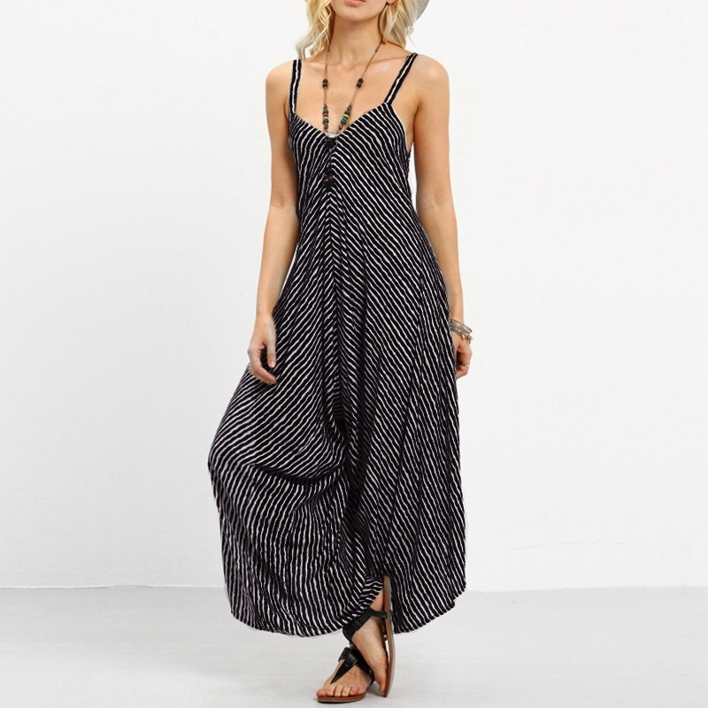 Women Pinstriped Wide Leg Strapless Sleeveless Playsuits Black Romper Party Bohemian Long Casual   Jumpsuits   Overalls