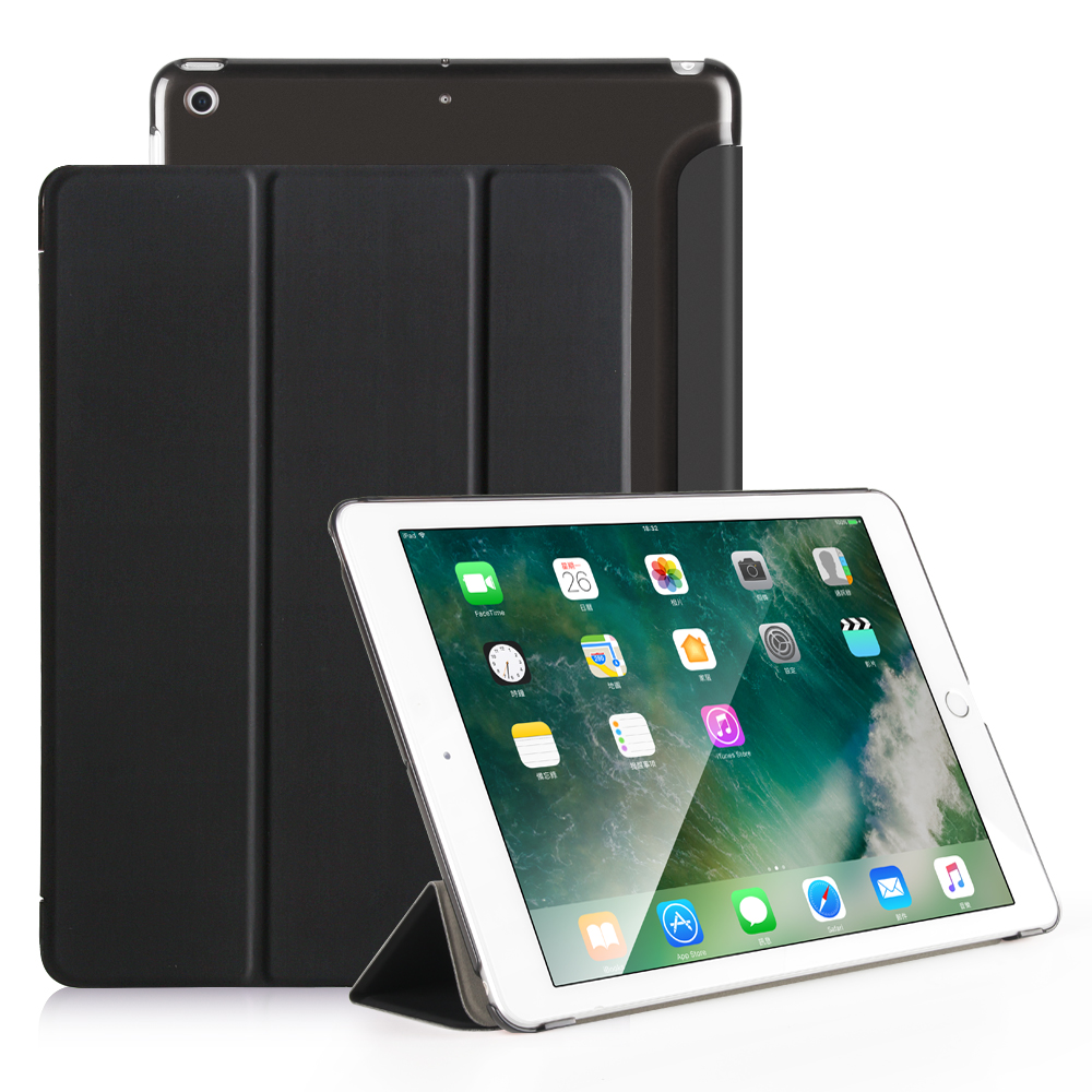 for new iPad 2017 case, PU solid transparent for ipad 9.7 case, for ipad 9.7 back cover can see logo for new ipad 2017 flip case