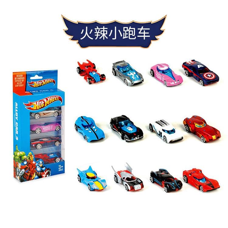 New Pattern 4 Pcs 1:64 Hot Wheels Mini Racing Model Toys Children's Toys Alloy Sliding Pocket Trolley