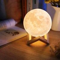 Usb лампа 3d печать луна лампа Luminaria usb зарядка ночник светодиодный сенсорный контроль яркость два цвета Изменение прикроватные лампы