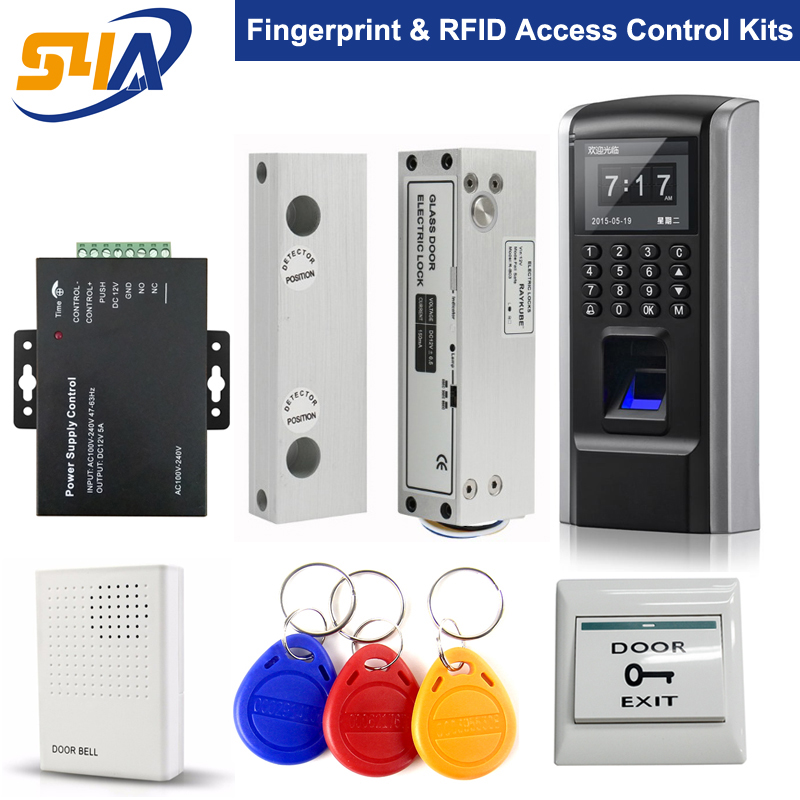 F8 Fingerprint Access Control System For Frameless Glass Door biometric face and fingerprint access controller tcp ip zk multibio700 facial time attendance and door security control system