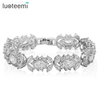 LUOTEEMI White Gold Color Queen Flower Design Luxury Sparkling Cubic Zirconia Bracelet Bangle for Women Wedding Jewelry