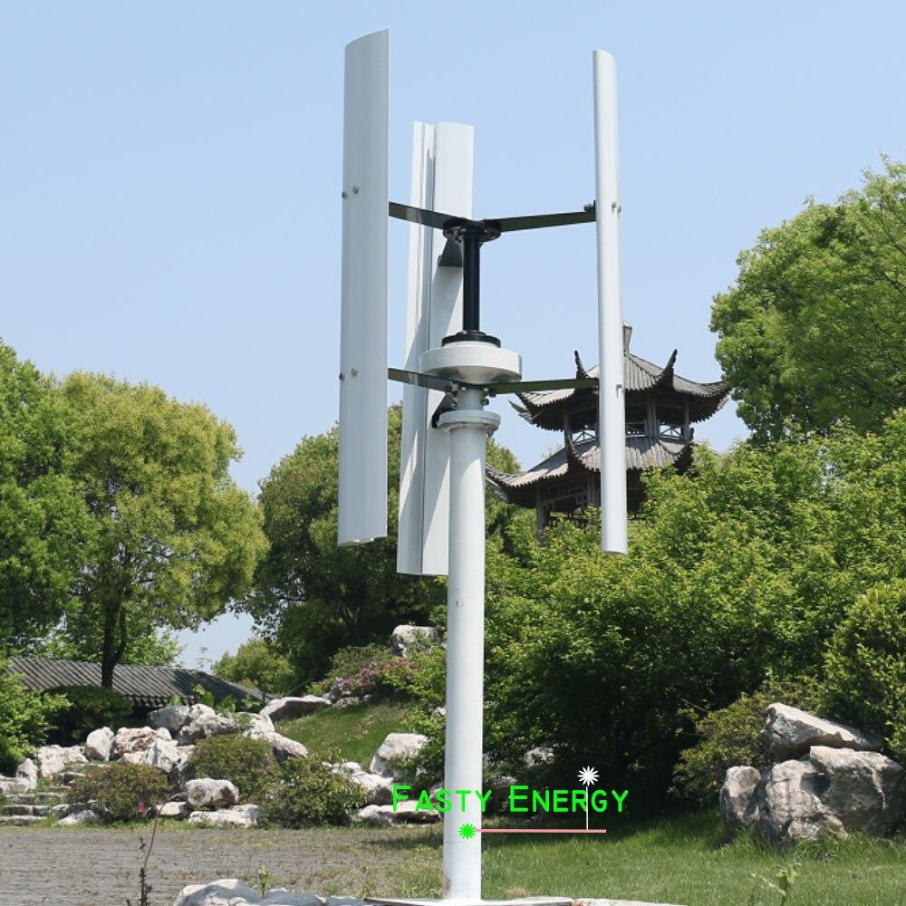 3 lame di 600 w generatore di turbina verticale del vento di magnete genertor 12 v/24 v con il vento ibrido solare della carica controller spedizione engergy