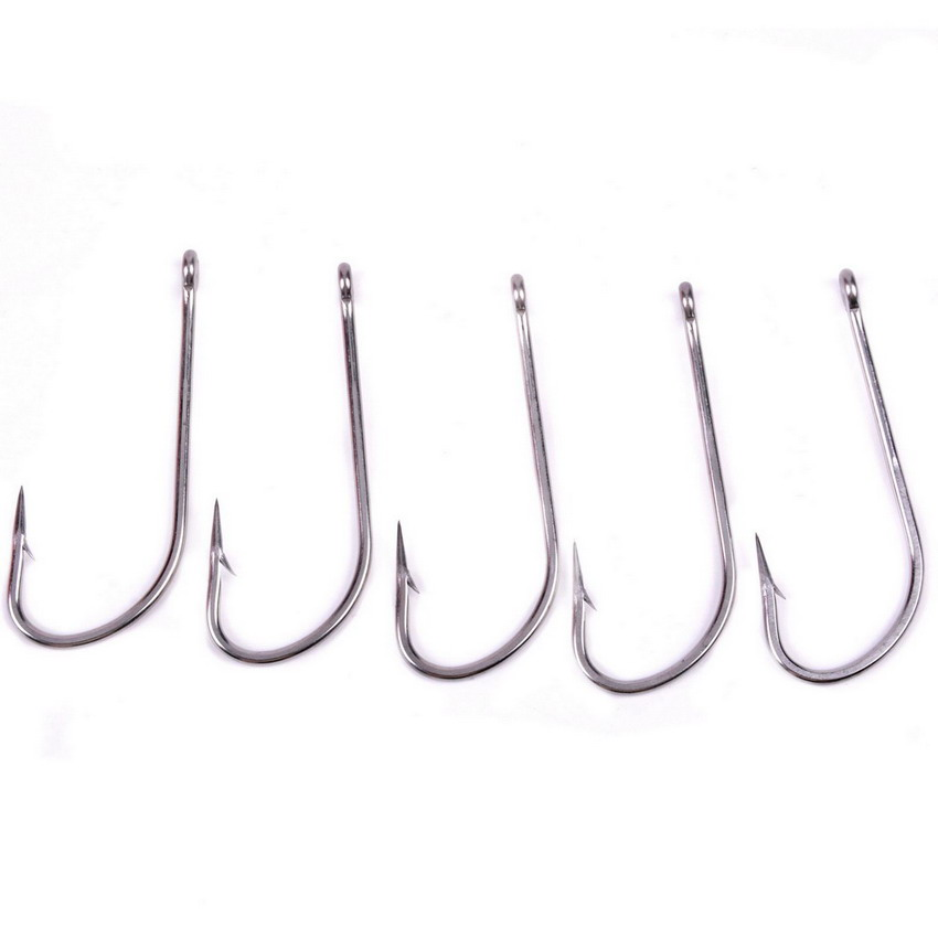 50pcs 1/0 10/0# Stainless Steel Fishhook Size Brand Fishing Hook Fish Hook White Color Jig Big ...