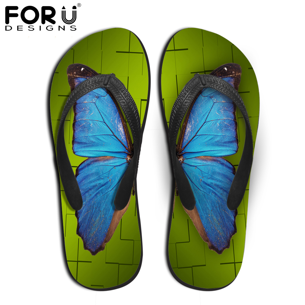 FORUDESIGNS Women Summer Rubber Flip Flops 3D Butterfly Printed Beach Slippers for Ladies Fashion Female Non-Slip Flat Sandals forudesigns fashion men house slippers retro summer non slip platform flip flops for man beach rubber slipper men s sandals