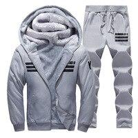 Sporting Suit Men Winter Tracksuits Gray Men S Sets Thicken Fleece Plus Size XXXXL Hoodies Pants