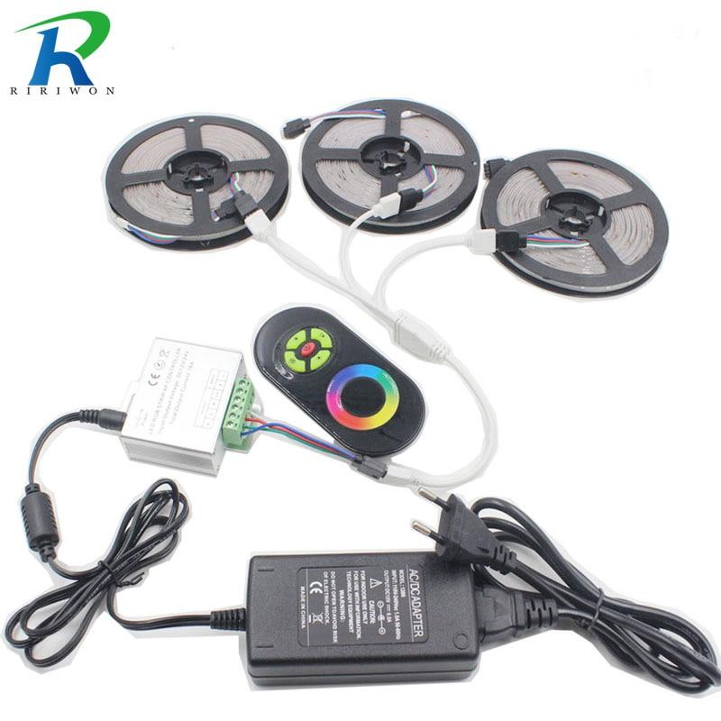 RiRi won LED RGB led strip light SMD 3528 ip20 20M 15M 10M Fiexble Light 54LEDs led tape DC 12V Adapter Power controller set
