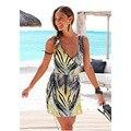 2016 Del Otoño Del Verano de Las Mujeres Vestido Suelto Sexy Vestidos V Profundo Étnico Estampado de Rayas Túnica Vestidos de Playa Tamaño Grande Vestido de Verano