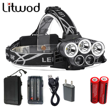 Litwod Z302309A 15000lm Led Head Lamp 3T6+2LST Alu-alloy Body Headlamp Headlight 6 Mode Head Light Torch 18650+USB+Charge+Box