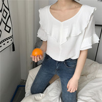 2017 Women Shirts Flare Sleeve Loose Elegant And Pretty Agaric Ruffles Front Blouse Shirt Orange White