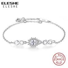 7b887ff29dba ELESHE 925 de plata esterlina infinito pulsera de encanto con cristal  redondo ajustable pulseras para las mujeres joyería regalo.