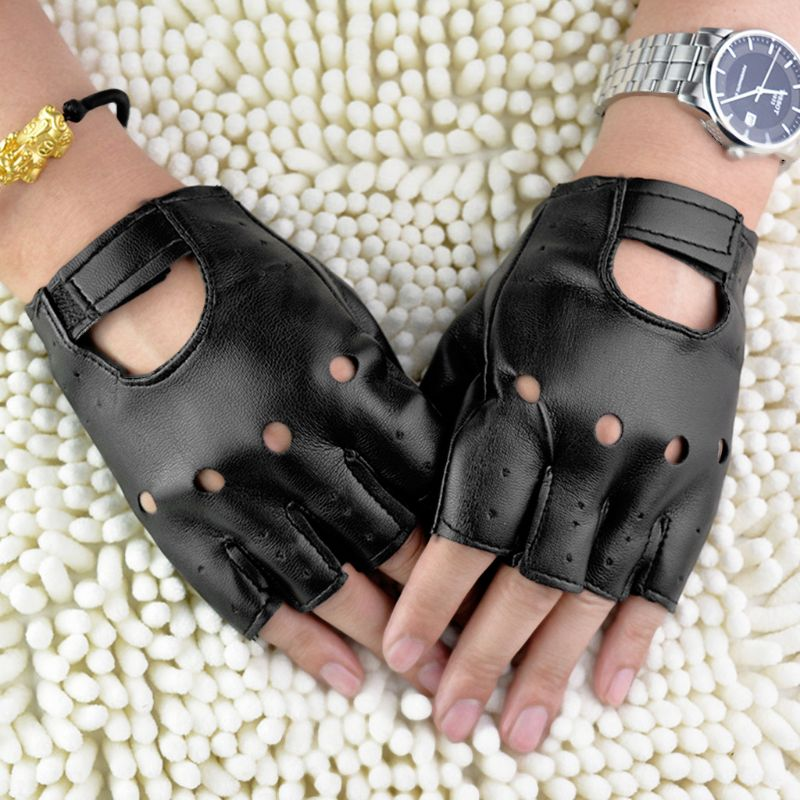 Men Faux Leather Slip-Resistant Half Finger Fingerless Gloves Hand Wrist Mittens