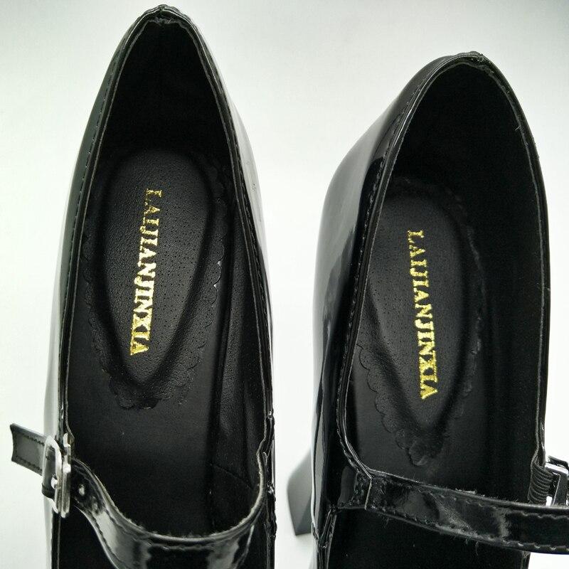 LAIJIANJINXIA Novas Senhoras Sapatos de Salto Quadrado de Salto Alto Branco 18 cm Tiras No Tornozelo 8 cm de Espessura Sapatos de Plataforma Senhoras 2018 sapato novidade - 6