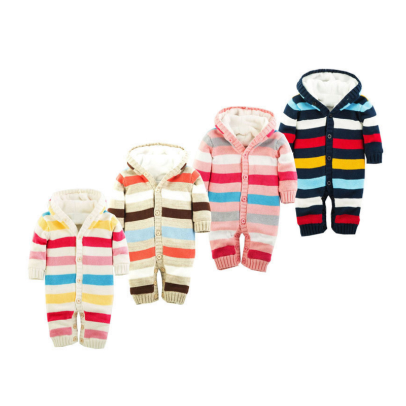 Baby Colorful Hooded Romper 0-18 Months Knitted Striped Thick Cotton Long Sleeve Autumn Winter Infant Boy Girl Baby Clothing