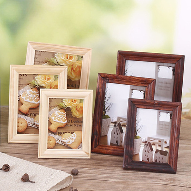 Tanghome Vintage Wooden Photo Frame Diy Home Decor Desktop Ornament