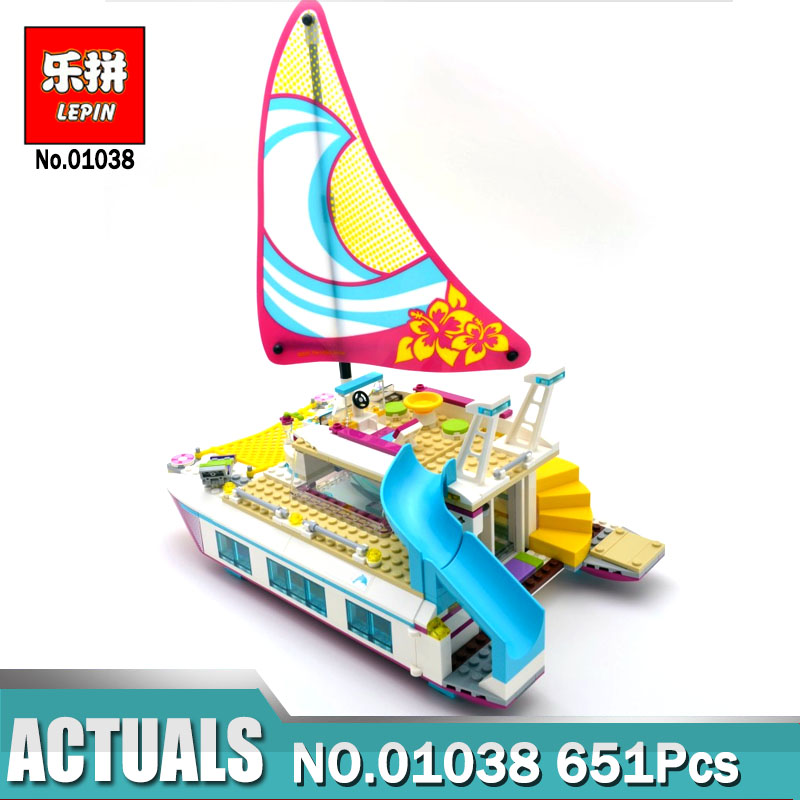 цены на Lepin Friends 01044 Dolphin Cruiser/ Lepin Friends 01038 Sunshine Catamaran Bricks Toys Gifts Compatible Legoinglys 41317 41015 в интернет-магазинах