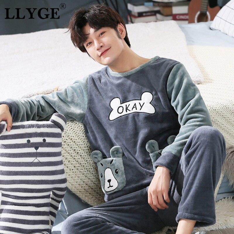 LLYGE Men Flannel Cartoon Pajama Set Coral Fleece Thicken O-Neck Long Sleeve Homewear Pyjama Suit Spring Men's Pants Nightgowns