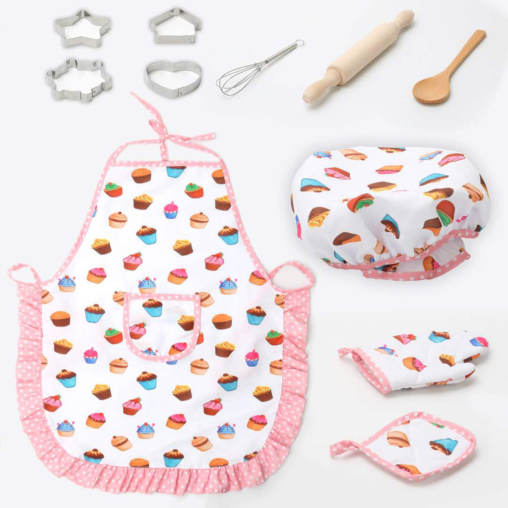 11pcs/set Kids Cooking Baking Kit Kitchen Chef Costume Role Play Apron Hat Gloves Set For Children