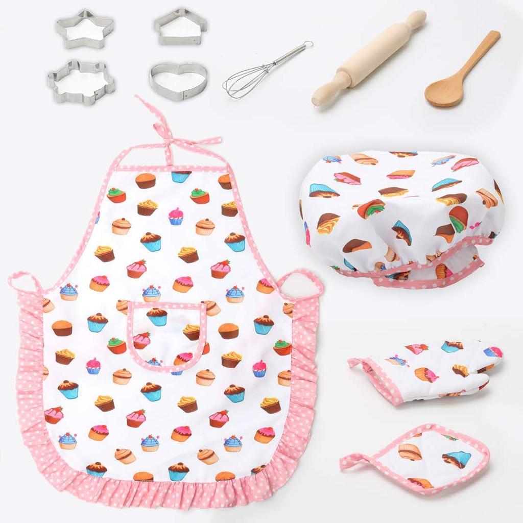 11pcs/set Kids Cooking Baking Kit Kitchen Chef Costume Role Play Apron Hat Gloves Set For Children