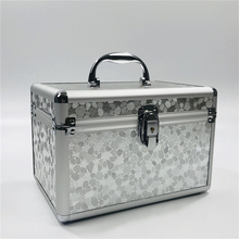 Professional Aluminium alloy Make up Box Lighting pattern Makeup Case Beauty Case Cosmetic Bag Multi Tiers Lockable Jewelry Box цена и фото
