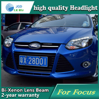 Car Styling Head Lamp Case For Ford Focus 2012 2014 Headlights LED Headlight DRL Lens Double