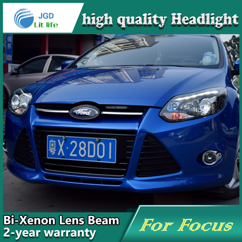 Car Styling Head Lamp case for Ford Focus 2012-2014 Headlights LED Headlight DRL Lens Double Beam Bi-Xenon HID car Accessories hireno headlamp for 2016 hyundai elantra headlight assembly led drl angel lens double beam hid xenon 2pcs