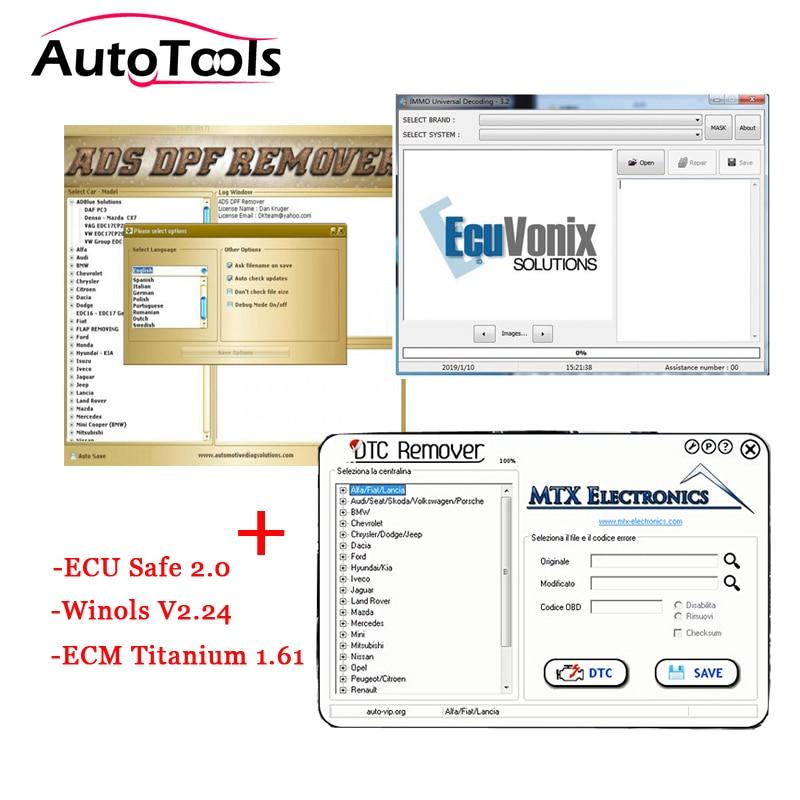 MTX DTC Remover 1.8.5 & DPF EGR REMOVER 2017.05 Keygen & Immo Universal Decoding 3.2 & WINOLS & ECM TITANIUM 1.61 & ECUSafe 2.0
