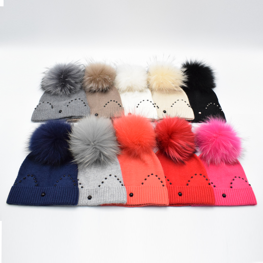 2016 New brand High quality Children wool hat in winter with Big Raccoon fur pompoms Kids Hat Cute girl knitted cap Fur Hat new autumn winter warm children fur hat women parent child real raccoon hat with two tails mongolia fur hat cute round hat cap