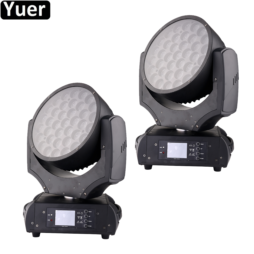 2Pcs/Lot DJ Disco Light Stage 37x20W RGBW 4IN1 LED Zoom Moving Head Light Color Music Wash Effect For Party Club Stage Lighting