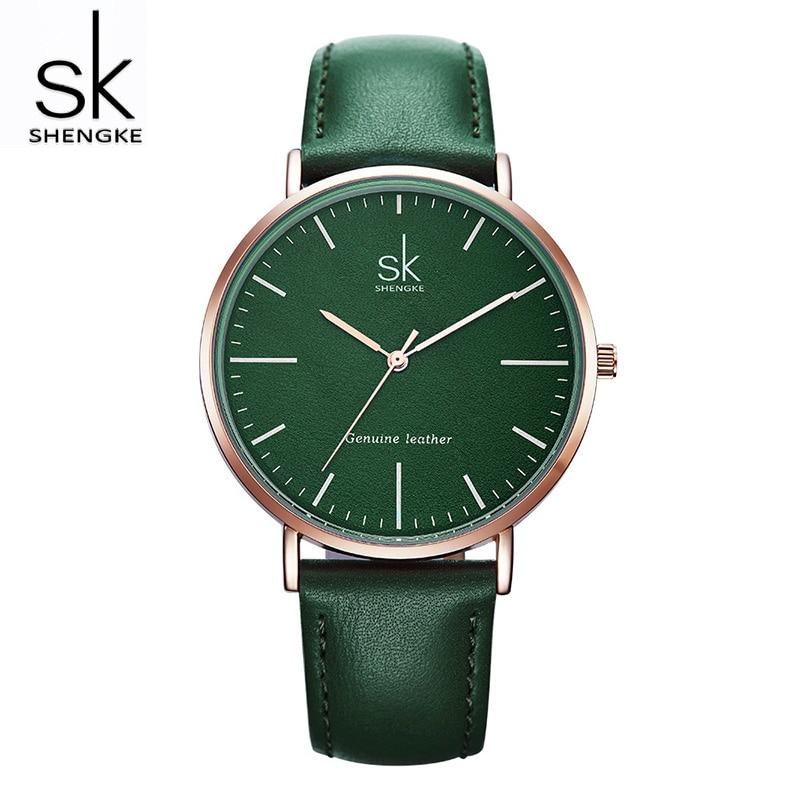 Shengke Casual Women Leather Watches Luxury Quartz Clock Ladies Fashion Wrist Watch Reloj Mujer 2019 SK Women's Day Gift #K0082