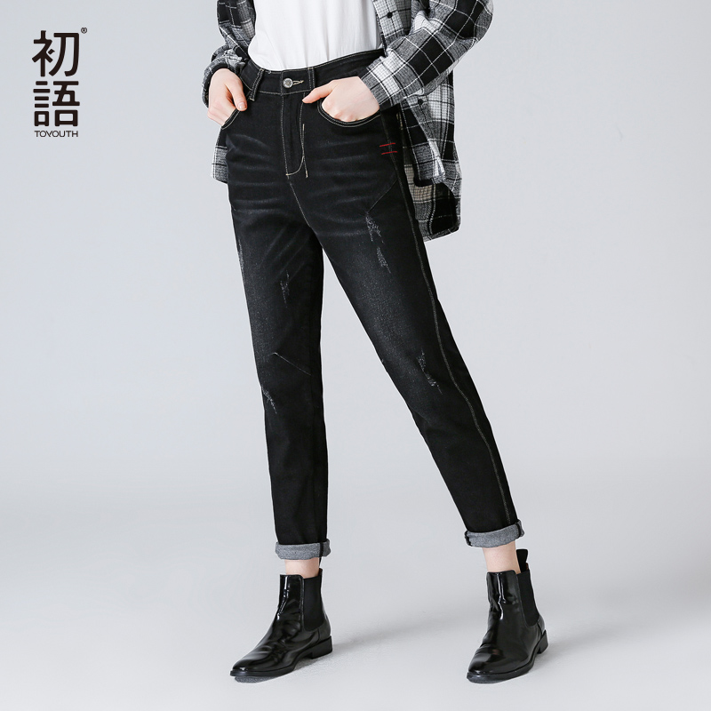Toyouth Ripped   Jeans   For Women 2019 Autumn Winter Casual Black   Jeans   Lady Straight Denim Pants Long Trousers