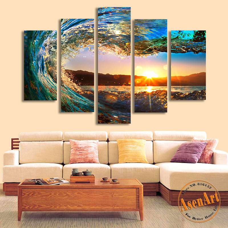 5 panel sea wave painting sunset seascape painting for - Modern wall decor for living room ...