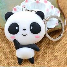 Hot 1 Pc Unisex Fashion Cute Panda Keychain Silicone Bag Pendant Kawaii Cartoon Key Ring Jewelry Present