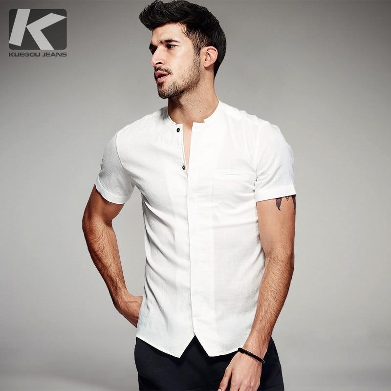 KUEGOU Verano Camisas de moda para hombre Bolsillos de marca de ropa de hombre delgado negro blanco bolsillos de manga corta slim fit masculina 1370