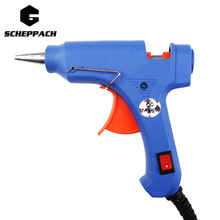 Scheppach High Temp Heater Melt Hot Glue Gun 20W Repair Tool Heat Gun Blue Mini Gun EU Plug or with Hot Melt Glue Gun Sticks set