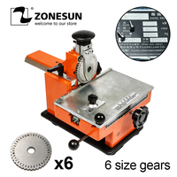 ZONESUN Embossing Machine With 6 Gear Metal Sheet Embosser Manual Steel Aluminum Alloy Name Plate Stamping Label Engrave Tool