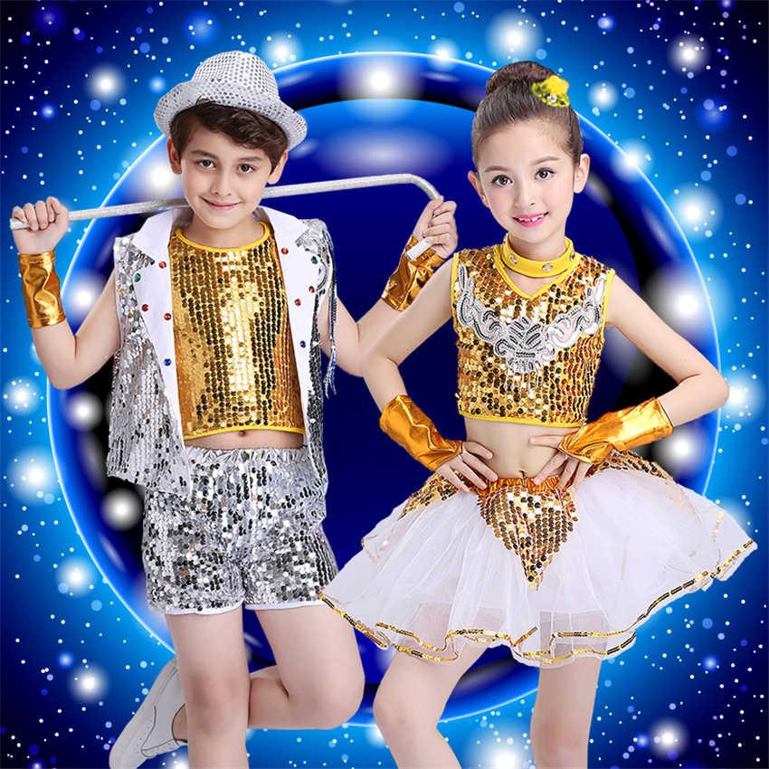 Детская хип-хоп Джаз танцевальная одежда сценическая одежда для девочек Dj костюмы Beyonce Sequin Competition Festival одежда комплект 100-160 см