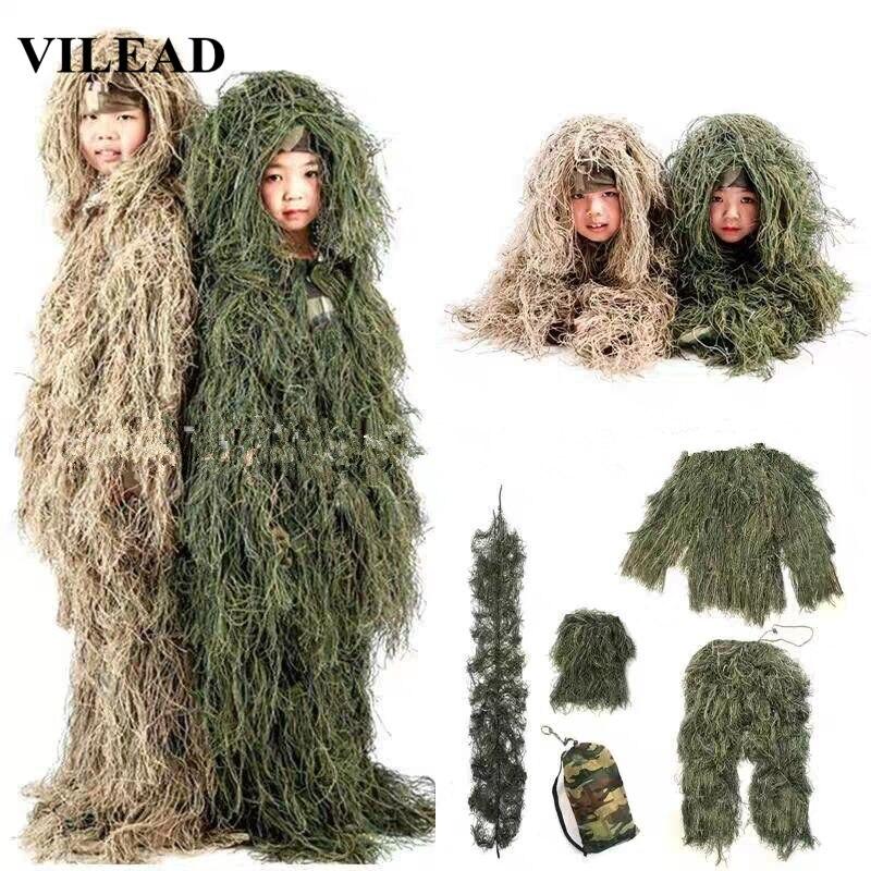 VILEAD 2 Couleur Enfants Costume De Ghillie PUBG Vêtements de Chasse Camouflage Militaire Ensemble Camo Poncho Cosplay Uniforme Tactique Sniper Jungle