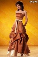Бесплатная доставка ужин платье 2016 Новая мода Партия Платье невесты горничной платье атласная vestidos formales длинные платья Невесты Платья